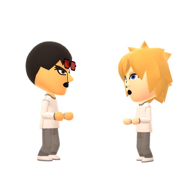 Ryu en Cloud praten met elkaar