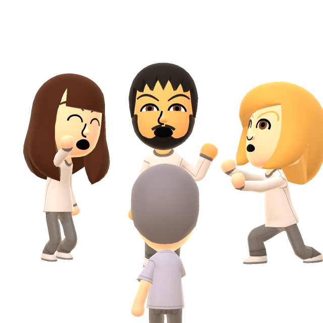 Akira, Meryll, Hitomi & de mannelijke Wii Fit-trainer